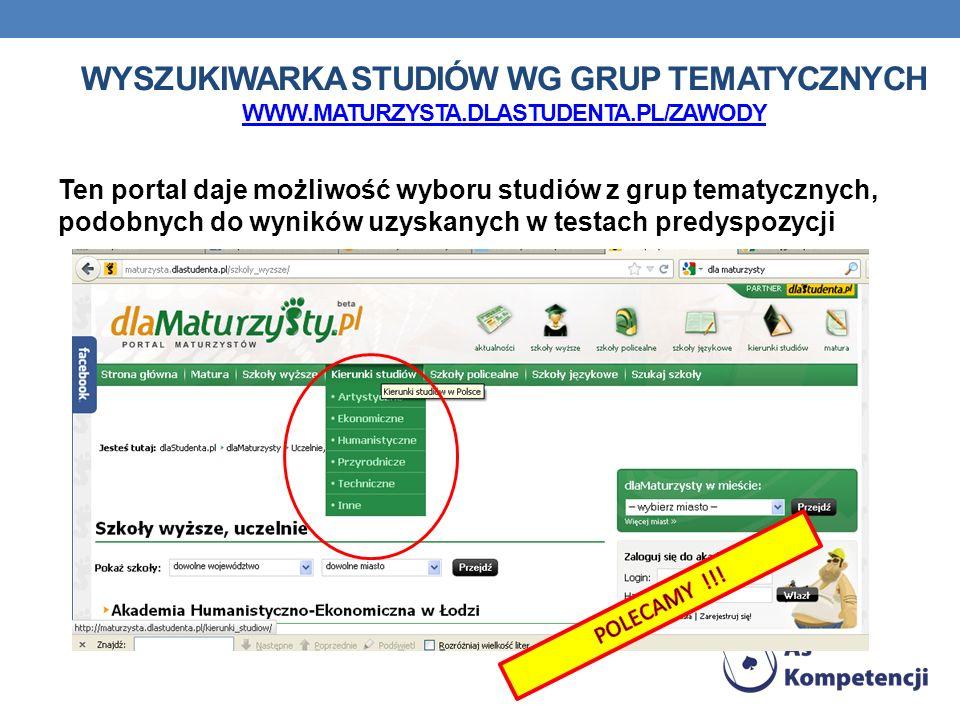 Wyszukiwarka studiów wg grup tematycznych www. maturzysta. dlastudenta