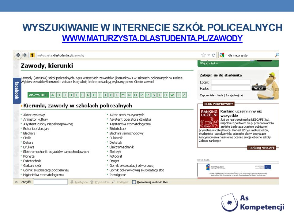 Wyszukiwanie w Internecie szkół policealnych www. maturzysta