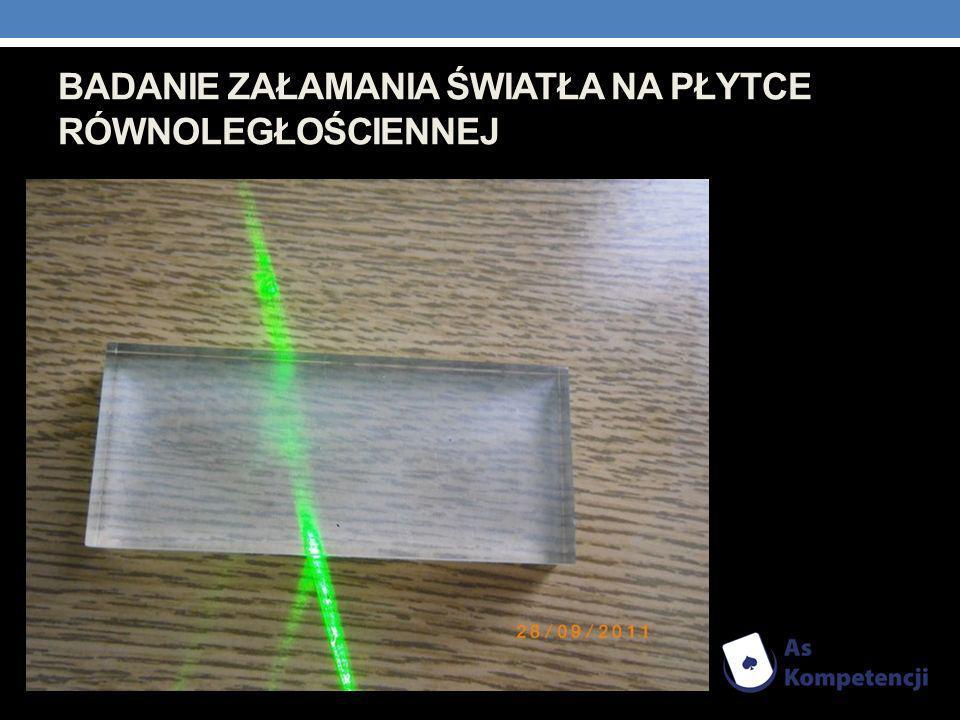 Badanie załamania światła na płytce równoległościennej