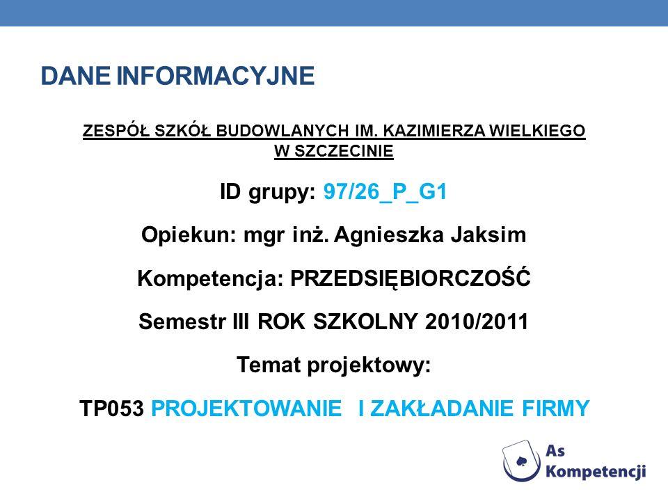 Dane INFORMACYJNE ID grupy: 97/26_P_G1