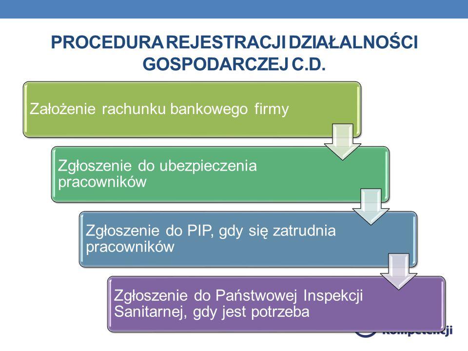 Procedura rejestracji działalności gospodarczej c.d.