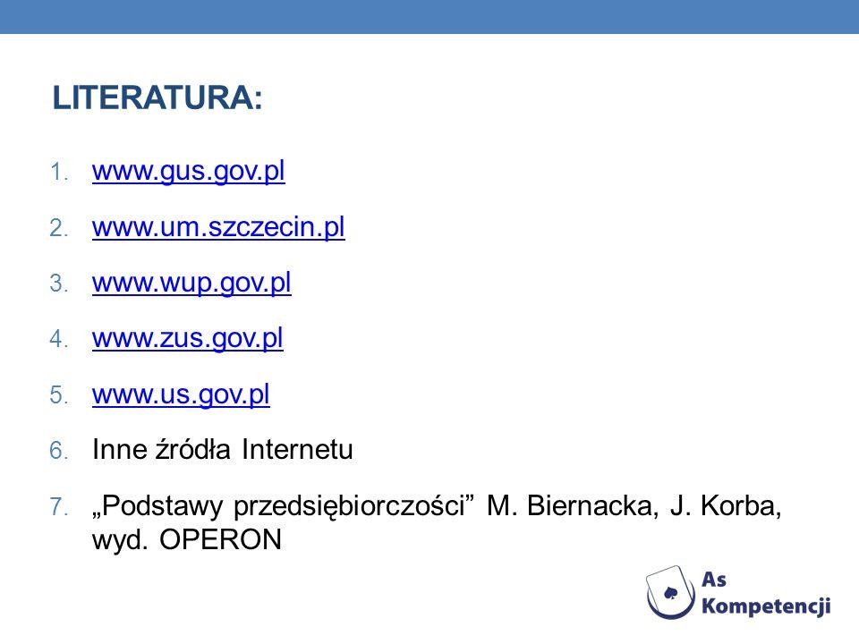 LITERATURA: www.gus.gov.pl www.um.szczecin.pl www.wup.gov.pl