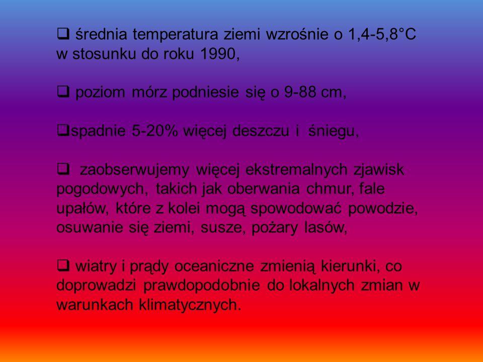 średnia temperatura ziemi wzrośnie o 1,4-5,8°C w stosunku do roku 1990,