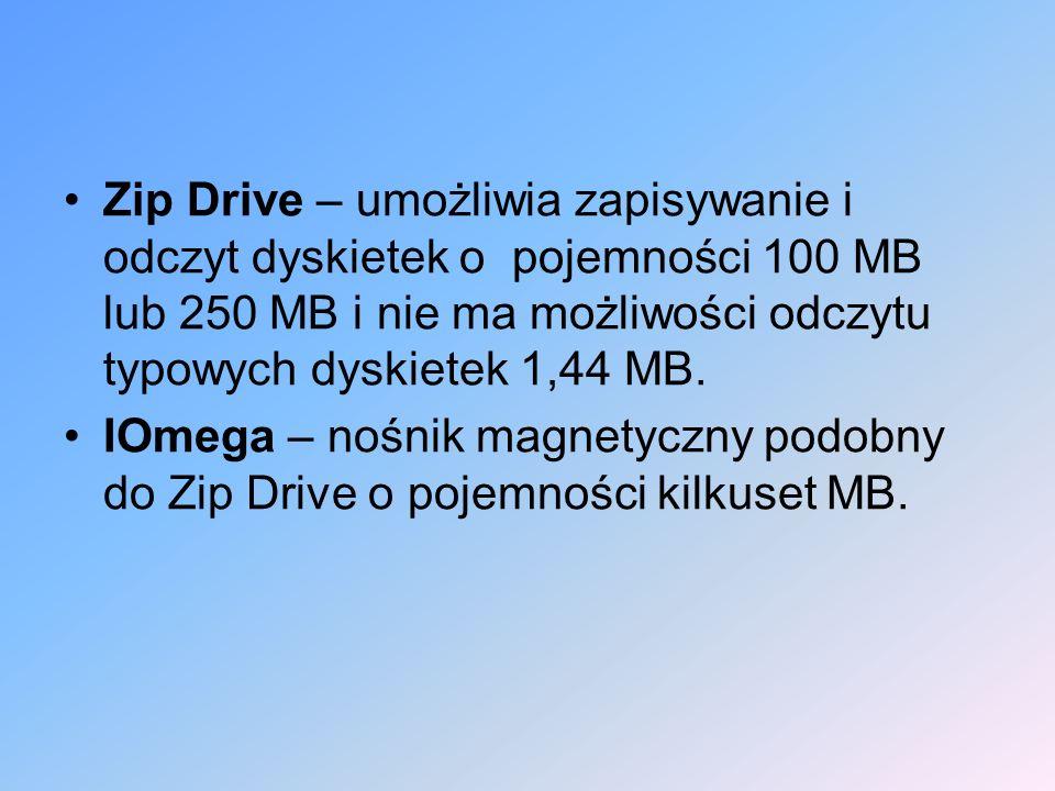 Zip Drive – umożliwia zapisywanie i odczyt dyskietek o pojemności 100 MB lub 250 MB i nie ma możliwości odczytu typowych dyskietek 1,44 MB.