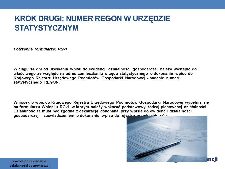 Krok drugi: Numer REGON w Urzędzie Statystycznym