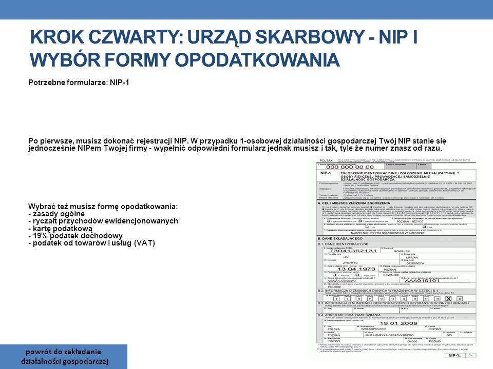 Krok czwarty: Urząd Skarbowy - NIP i wybór formy opodatkowania