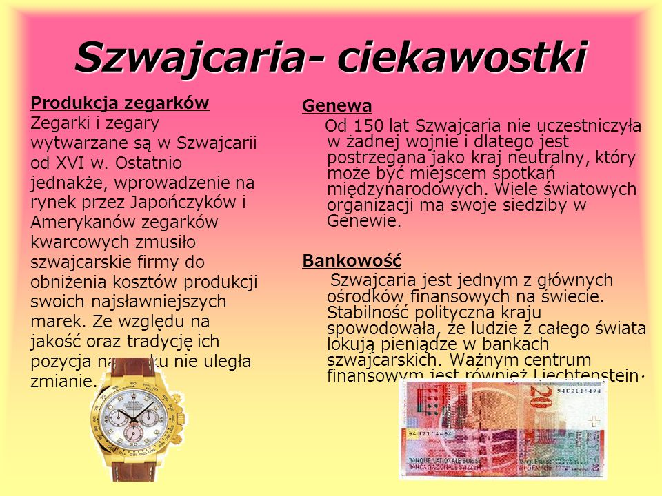 Szwajcaria- ciekawostki