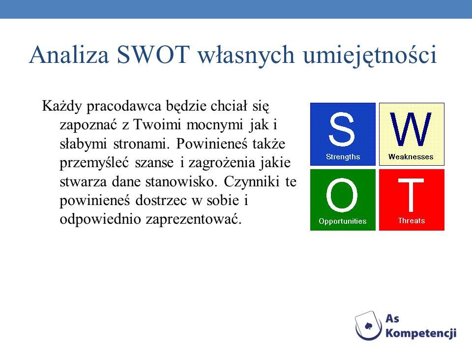 Analiza SWOT własnych umiejętności