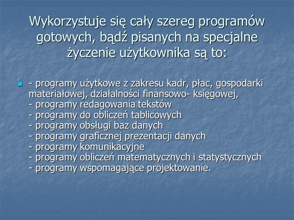 Wykorzystuje się cały szereg programów gotowych, bądź pisanych na specjalne życzenie użytkownika są to: