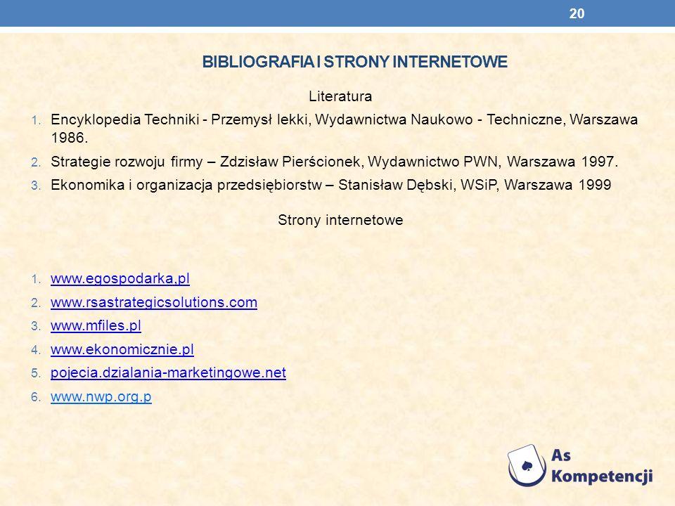 Bibliografia i strony internetowe