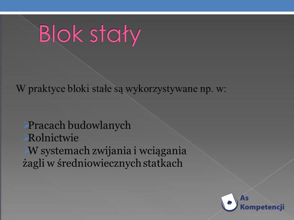 W praktyce bloki stałe są wykorzystywane np. w: