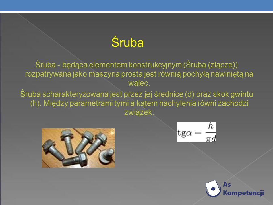 Śruba Śruba - będąca elementem konstrukcyjnym (Śruba (złącze)) rozpatrywana jako maszyna prosta jest równią pochyłą nawiniętą na walec.