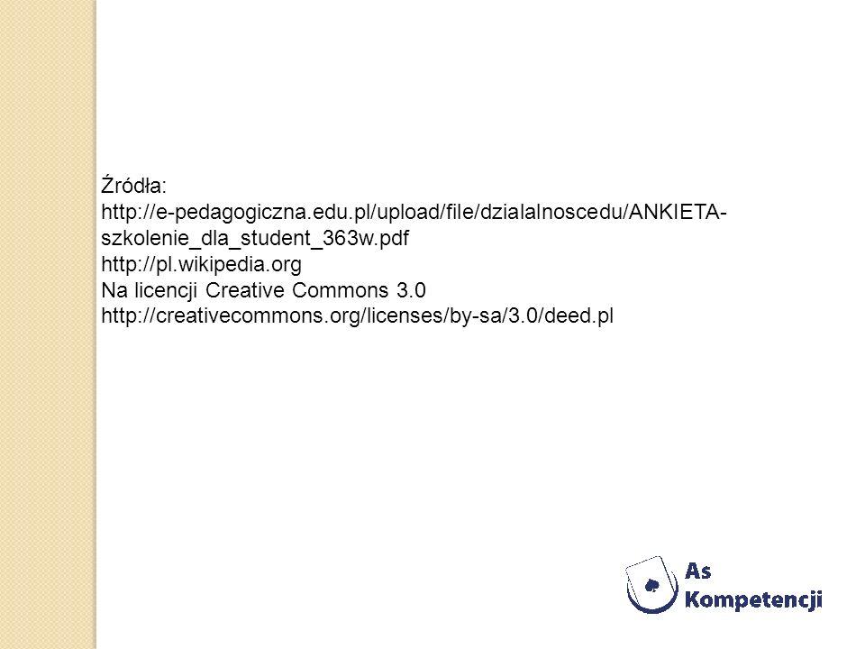 Źródła: http://e-pedagogiczna.edu.pl/upload/file/dzialalnoscedu/ANKIETA-szkolenie_dla_student_363w.pdf.