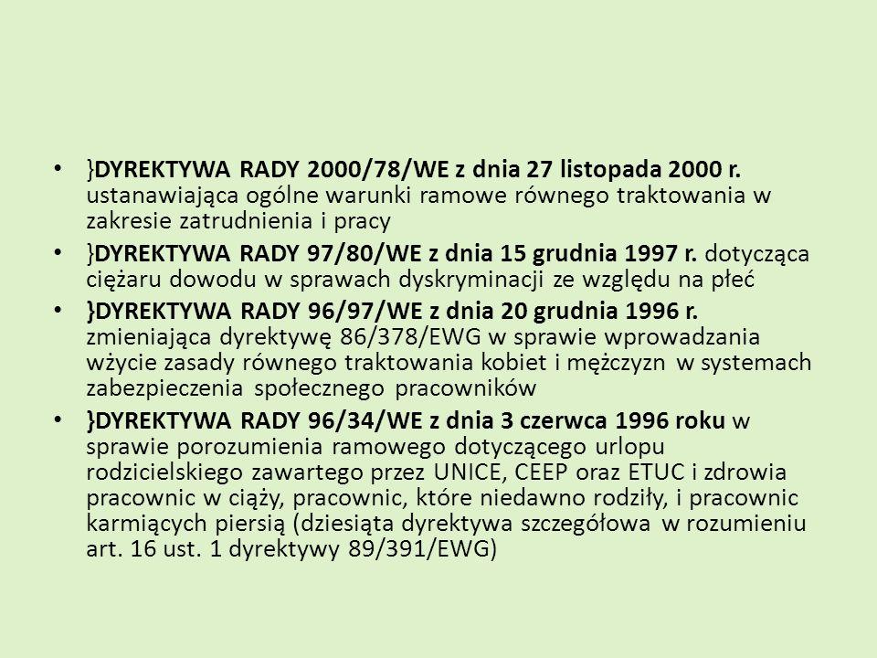 }DYREKTYWA RADY 2000/78/WE z dnia 27 listopada 2000 r