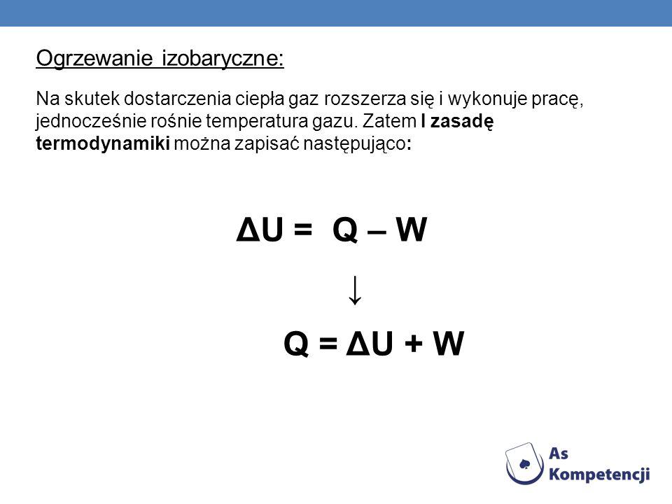 ΔU = Q – W ↓ Q = ΔU + W Ogrzewanie izobaryczne: