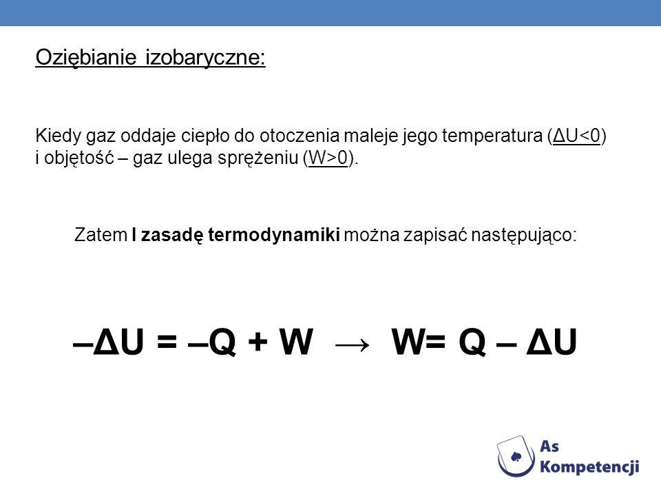 Zatem I zasadę termodynamiki można zapisać następująco: