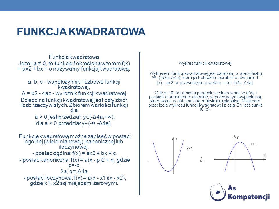Funkcja kwadratowa Funkcja kwadratowa