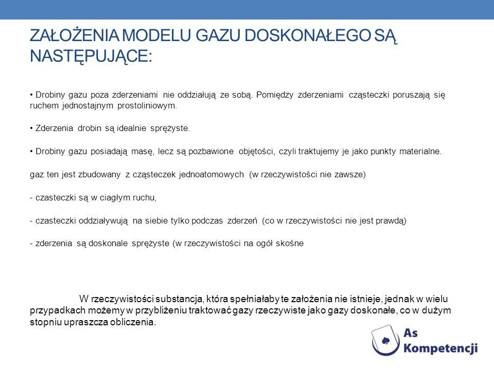 Założenia modelu gazu doskonałego są następujące: