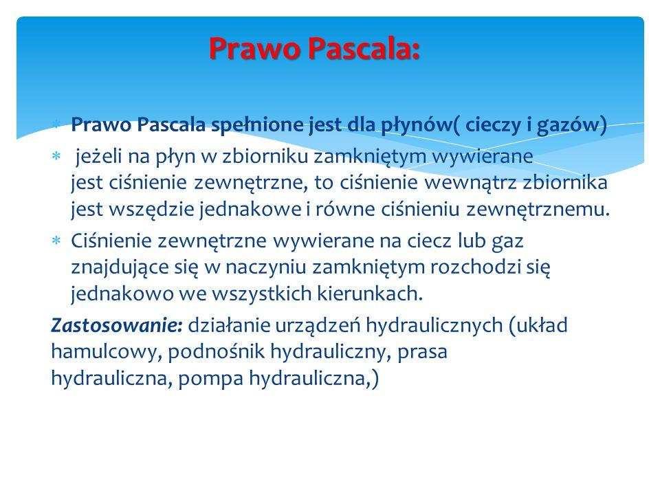 Prawo Pascala: Prawo Pascala spełnione jest dla płynów( cieczy i gazów)