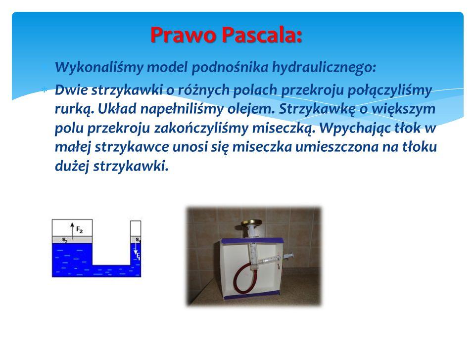 Prawo Pascala: Wykonaliśmy model podnośnika hydraulicznego: