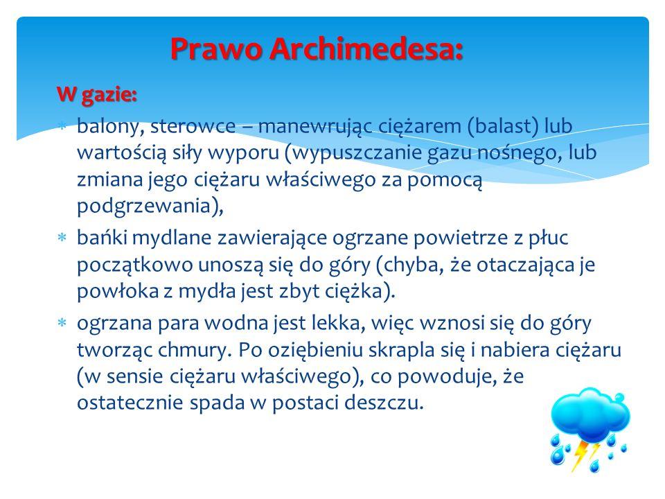 Prawo Archimedesa: W gazie: