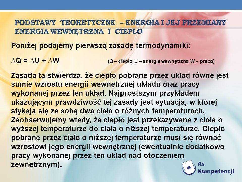 podstawy Teoretyczne – energia i jej przemiany energia wewnętrzna i ciepło
