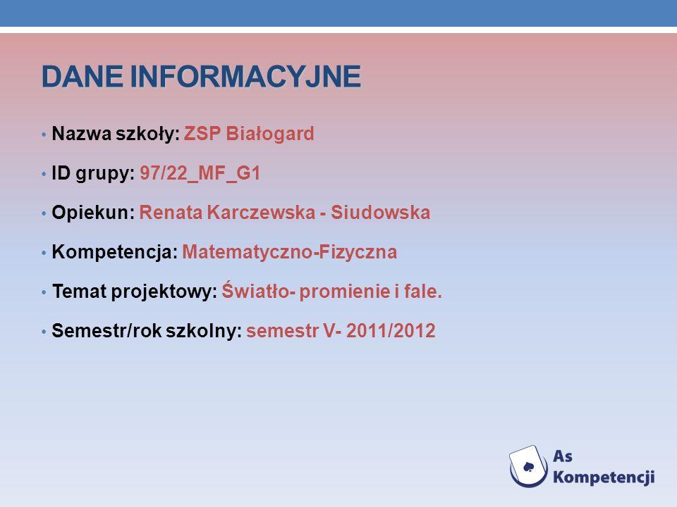 DANE INFORMACYJNE Nazwa szkoły: ZSP Białogard ID grupy: 97/22_MF_G1