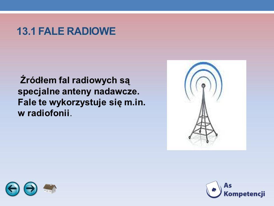13.1 FALE RADIOWE Źródłem fal radiowych są specjalne anteny nadawcze.