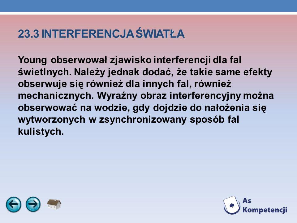 23.3 INTERFERENCJA ŚWIATŁA