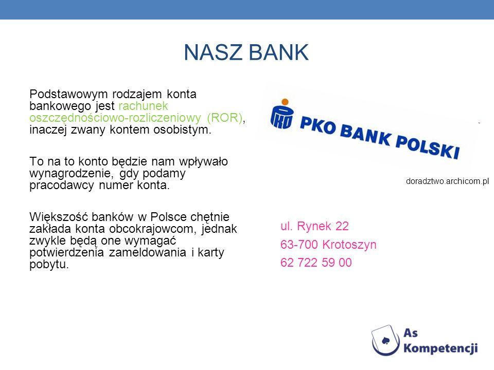 NASZ BANKPodstawowym rodzajem konta bankowego jest rachunek oszczędnościowo-rozliczeniowy (ROR), inaczej zwany kontem osobistym.
