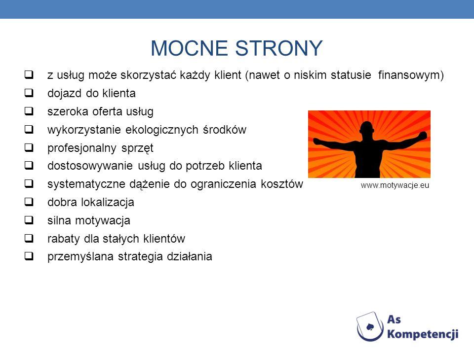MOCNE STRONY z usług może skorzystać każdy klient (nawet o niskim statusie finansowym) dojazd do klienta.