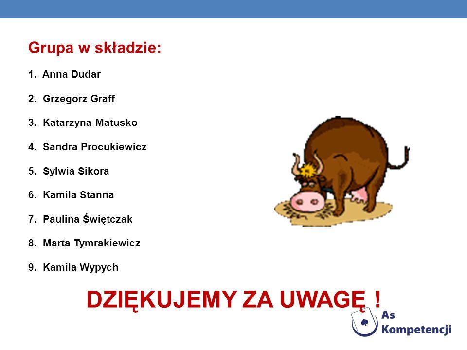 DZIĘKUJEMY ZA UWAGĘ ! o Grupa w składzie: 1. Anna Dudar