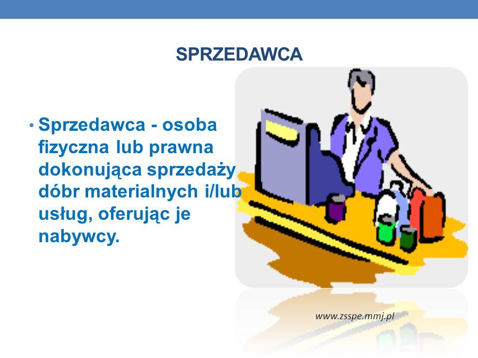 SPRZEDAWCA Sprzedawca - osoba fizyczna lub prawna dokonująca sprzedaży dóbr materialnych i/lub usług, oferując je nabywcy.
