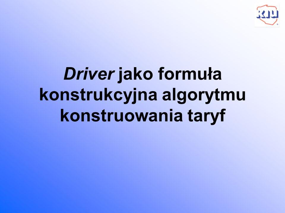 Driver jako formuła konstrukcyjna algorytmu konstruowania taryf