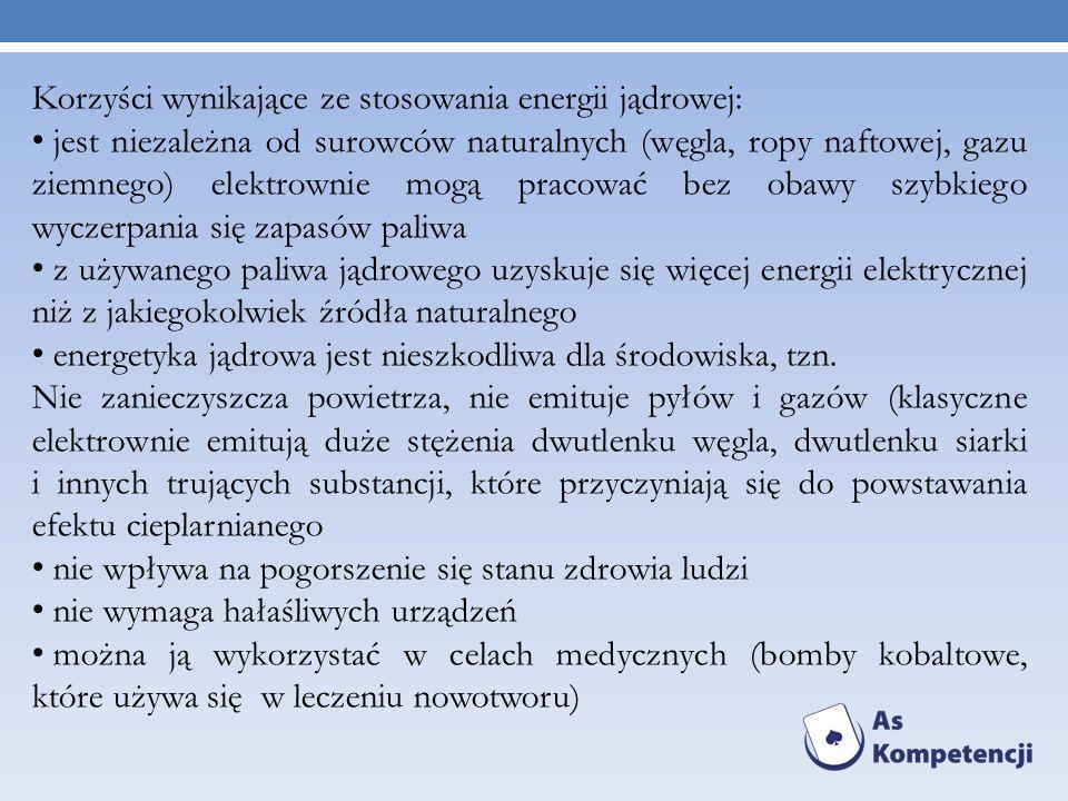 Korzyści wynikające ze stosowania energii jądrowej: