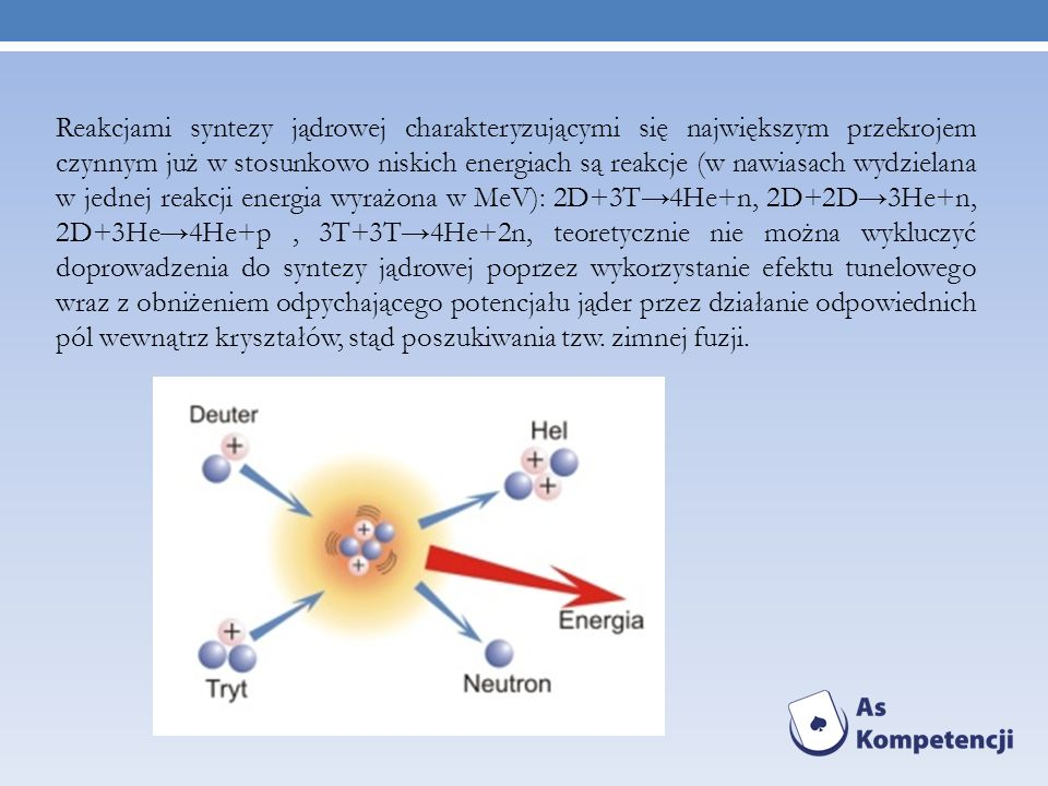 Reakcjami syntezy jądrowej charakteryzującymi się największym przekrojem czynnym już w stosunkowo niskich energiach są reakcje (w nawiasach wydzielana w jednej reakcji energia wyrażona w MeV): 2D+3T→4He+n, 2D+2D→3He+n, 2D+3He→4He+p , 3T+3T→4He+2n, teoretycznie nie można wykluczyć doprowadzenia do syntezy jądrowej poprzez wykorzystanie efektu tunelowego wraz z obniżeniem odpychającego potencjału jąder przez działanie odpowiednich pól wewnątrz kryształów, stąd poszukiwania tzw.