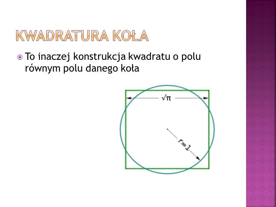 Kwadratura koła To inaczej konstrukcja kwadratu o polu równym polu danego koła
