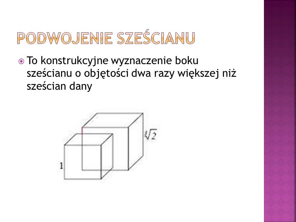 Podwojenie sześcianu To konstrukcyjne wyznaczenie boku sześcianu o objętości dwa razy większej niż sześcian dany.