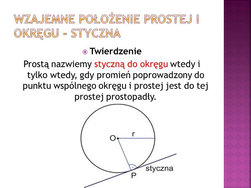 Wzajemne położenie prostej i okręgu - styczna
