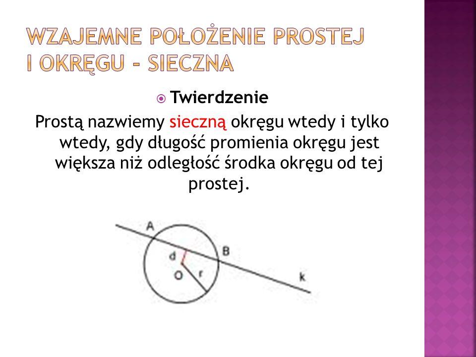 Wzajemne położenie prostej i okręgu - sieczna