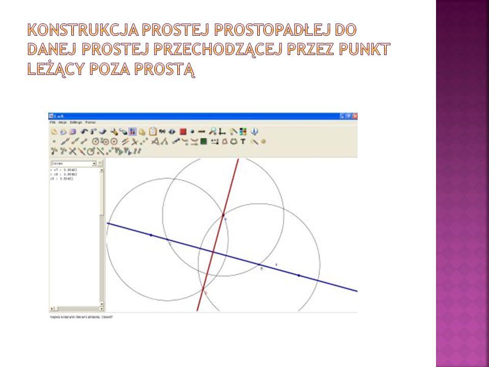Konstrukcja prostej prostopadłej do danej prostej przechodzącej przez punkt leżący poza prostą