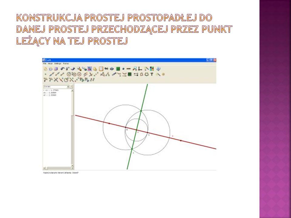 Konstrukcja prostej prostopadłej do danej prostej przechodzącej przez punkt leżący na tej prostej