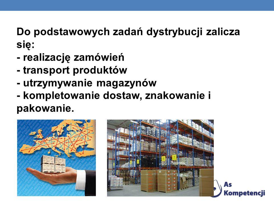 Do podstawowych zadań dystrybucji zalicza się: - realizację zamówień - transport produktów - utrzymywanie magazynów - kompletowanie dostaw, znakowanie i pakowanie.