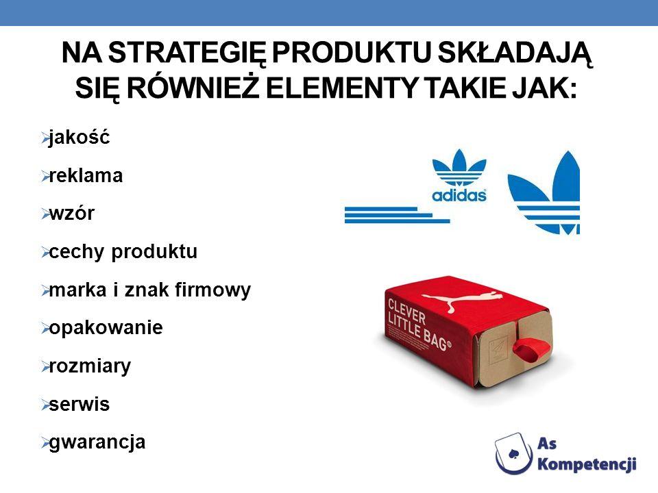 Na strategię produktu składają się również elementy takie jak: