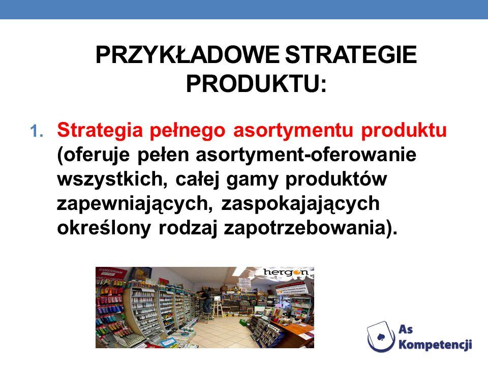 Przykładowe strategie produktu: