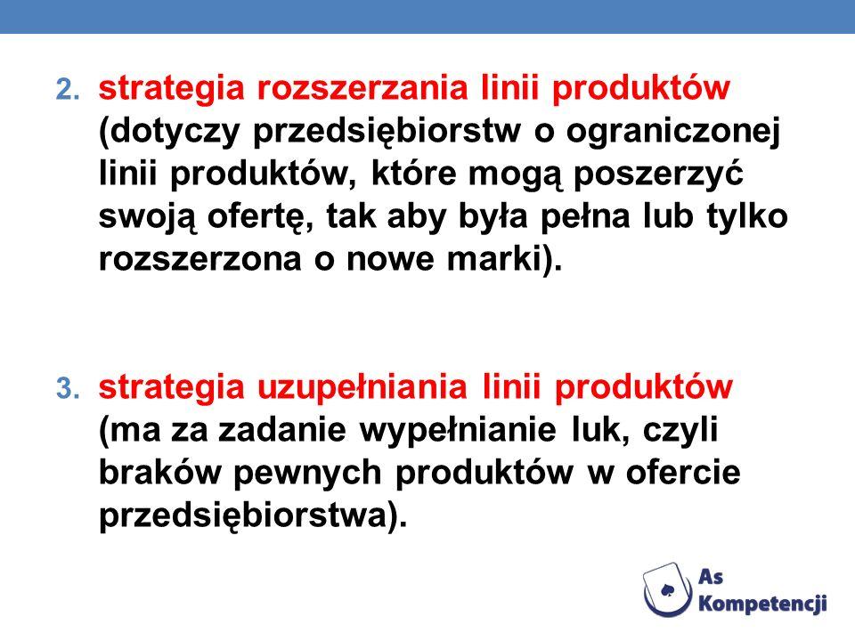 strategia rozszerzania linii produktów (dotyczy przedsiębiorstw o ograniczonej linii produktów, które mogą poszerzyć swoją ofertę, tak aby była pełna lub tylko rozszerzona o nowe marki).