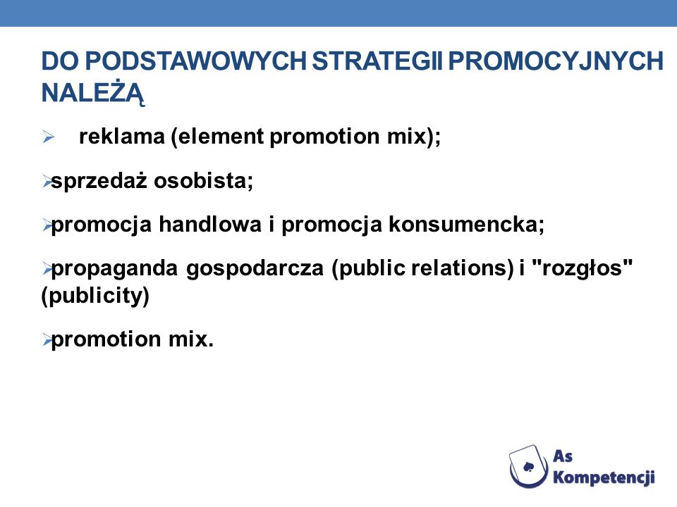 Do podstawowych strategii promocyjnych należą