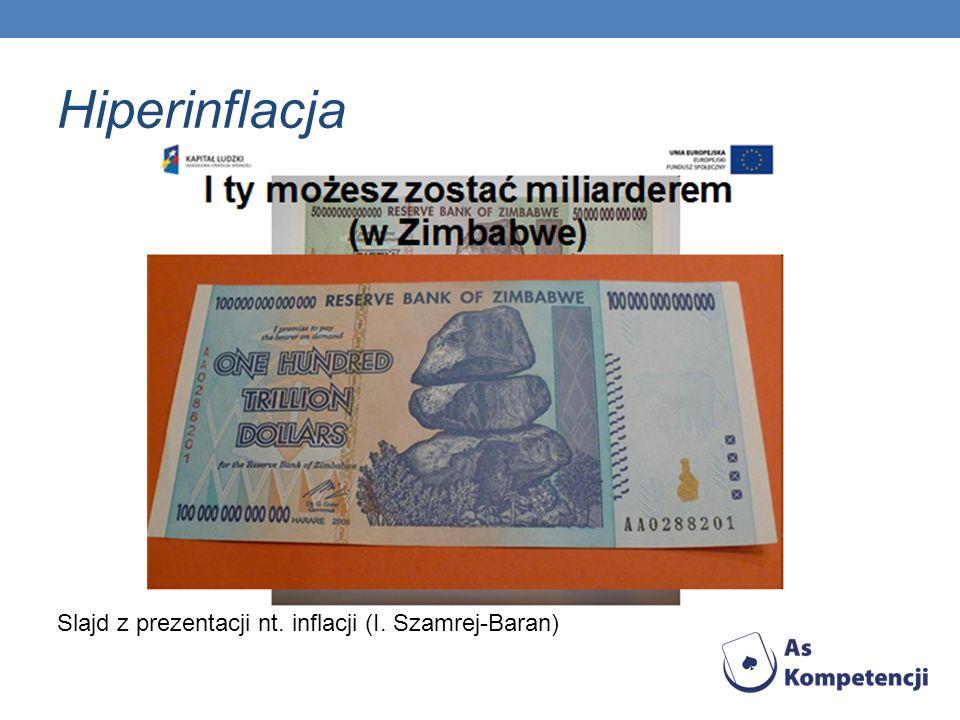 Hiperinflacja Slajd z prezentacji nt. inflacji (I. Szamrej-Baran)