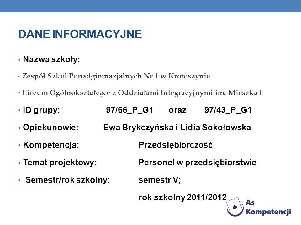 Dane INFORMACYJNE Nazwa szkoły: ID grupy: 97/66_P_G1 oraz 97/43_P_G1