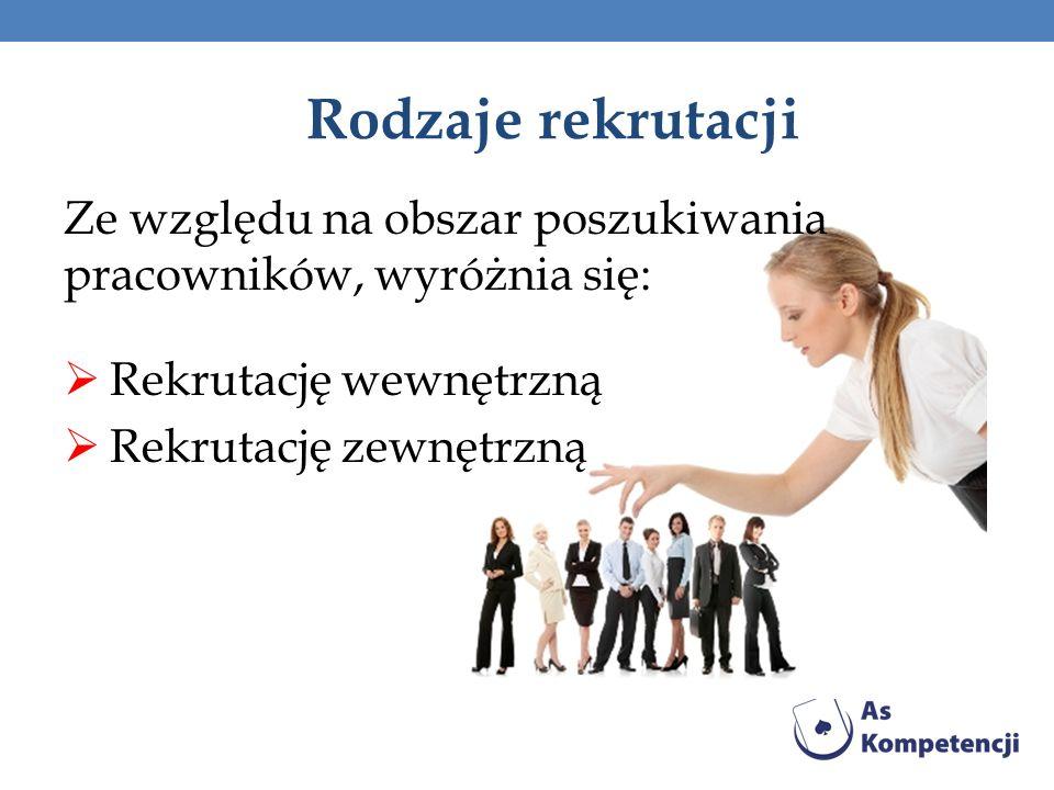 Rodzaje rekrutacji Ze względu na obszar poszukiwania pracowników, wyróżnia się: Rekrutację wewnętrzną.